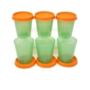 Tupperware Midgets Set of 6 Mint & Orange Lids 2oz